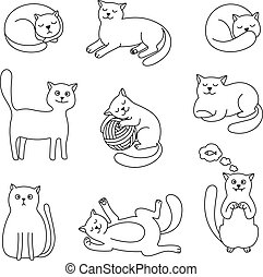 Cats doodle sketch collection