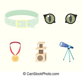 Cat's eyes, a collar, a house for a cat, a medal on a ribbon.Cat set collection icons in cartoon style vector symbol stock illustration web.