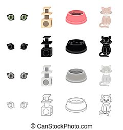 Cat's eyes, a scratching, a bowl for food, a sick kitten.Cat set collection icons in cartoon black monochrome outline style vector symbol stock illustration web.