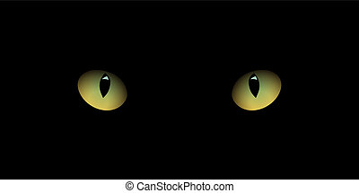 Cat's eyes isolated on black background. Vector realistic design element.