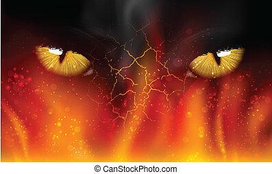 cat's eyes on fire