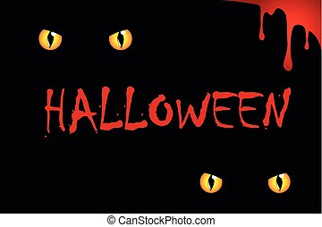 cats eyes on halloween red blood