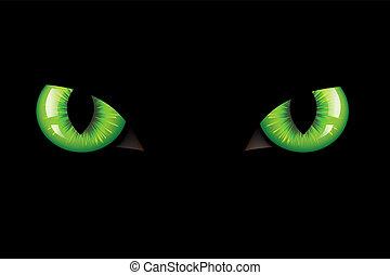 Cats Eyes - Green Dangerous Wild Cat Eyes, On Black...