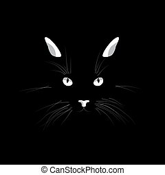 Cat's face in the dark. Vector cat's eyes, ears, nose and whiskers isolated on black background.