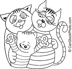 Cats family for coloring book - llustration of cheerful cats...