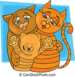 Cats family - llustration of cheerful cats family