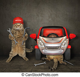 Cats fixing the red car in a garage 2