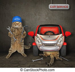 Cats fixing the red car in a garage