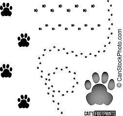 Cat's footprint set isolated on white background. Vector design element.