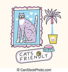 Cats Friendly Cat Portrait illustration. Food, toy, ball and palm tree