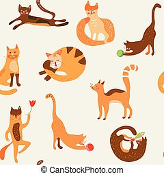 Cats funny seamless pattern