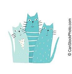 Cats Graphic Print - Kitten pets doodle cartoon friends...