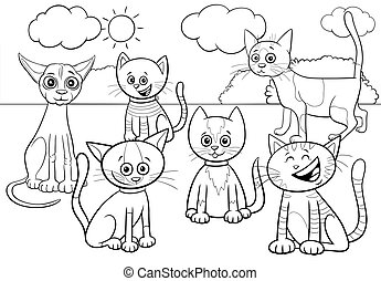 cats group cartoon coloring book page