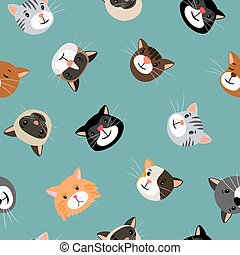 Cats heads seamless pattern