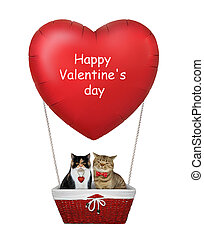 Cats in a red heart balloon 2