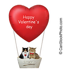 Cats in a red heart balloon