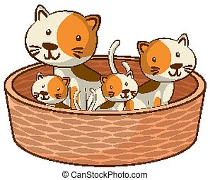 Cats in basket on white background