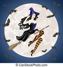 cats in cemetery - Halloween card with witch flying on broom...