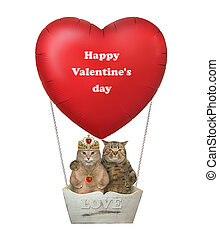 Cats in love in red balloon 2