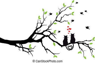 cats in love on tree branch with birds, vector illustration