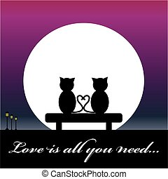 Cats in love sitting on bench with moon. Vector illustration...