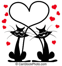 the background of two black cats falling in love on white