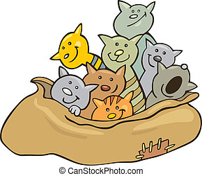 Cats in sack - Cartoon illustration of cats in sack
