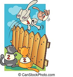 Cats jumping above the fence - Illustration of cats jumping...