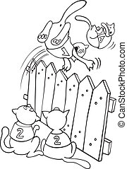 Cats jumping above the fence for coloring book -...