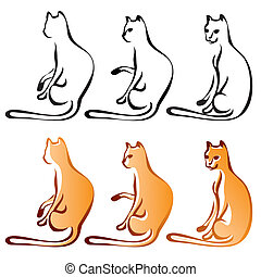 Cats Line Art Color, Set