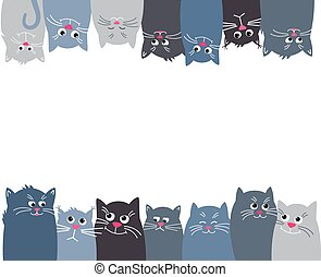 Cats look up and down. Horizontal banner with many Cute pet on