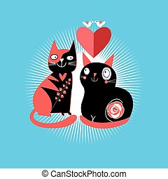 cats lovers - graphic enamored cats with heart on a blue...
