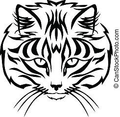 Cats muzzle - Contour black and white image muzzle tabby cat