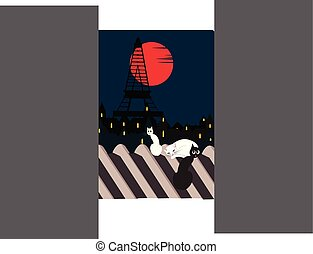cats on a roof with eiffel tower in the background