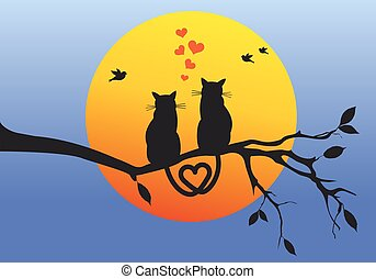 cats on tree branch, vector