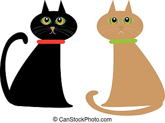 Cats on white background