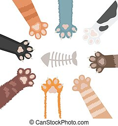 Cats paw set cartoon vector illustration