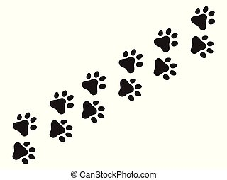 Cats paw trail. Footprints wolf cat dog, puppy trails nature print vector pattern