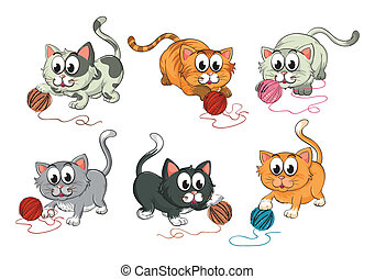 Cats playing with wool - Illustration of cats playing with...
