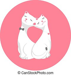 Two lovers cartoon cat sitting next in pink round