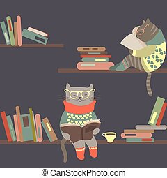 Cats reading books on bookshelves - Vector cute cats reading...