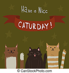 The cute vector postcard with funny cats for everyone who celebrate weekend and holidays for games presentations, ui tablets, smart phones.