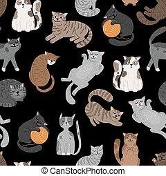 Cats seamless pattern. Shorthaired cat set pattern, cartoon kitty seamless print vector design, feline cattish cute texture