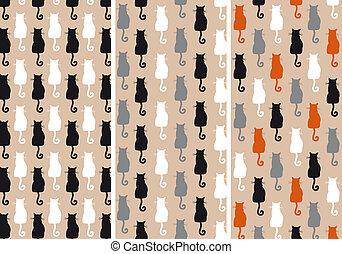 cats seamless pattern, vector set