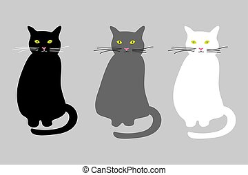 Cats set vector icon