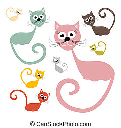 Cats Set Vector Illustration Isolated on White Background