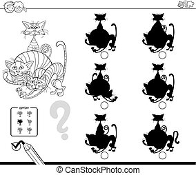 cats shadows educational game color book - Black and White...