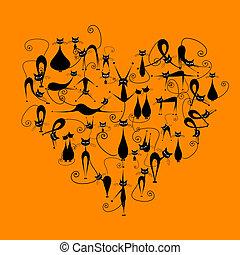 cats!, silhouette, aimez coeur, forme, chats, conception, noir, ton