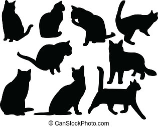 Cats silhouette collection - vector