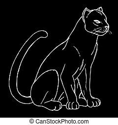 cats., silhouettes, arrière-plan noir, sauvage, blanc